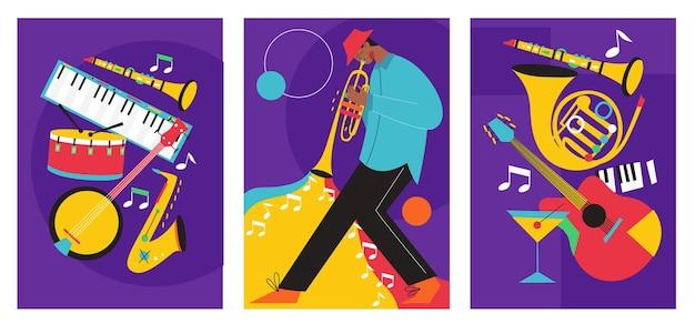 Zestaw kompozycji plakatów festiwalu jazzowego zawierał saksofon puzon klarnet skrzypce kontrabas fortepian trąbka bęben basowy i gitarę banjo