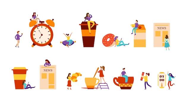 Zestaw kompozycji płaskich z koncepcjami codziennego życia rano. świeża kawa i słodycze, malutcy ludzie i budzik. ilustracja wektorowa.