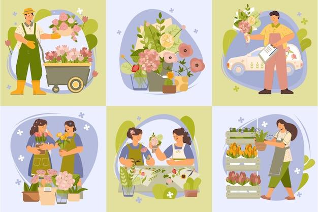 Zestaw kompozycji roślin do dostawy i sprzedaży