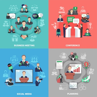 Zestaw kompozycji spotkania biznesowego