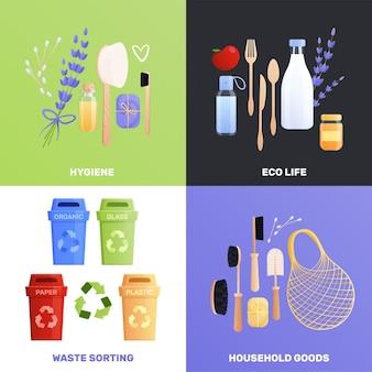 Zestaw kompozycji towarów ekologicznych