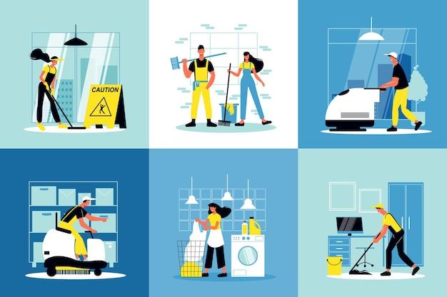 Zestaw kompozycji usług sprzątania