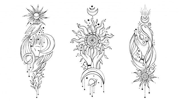 Zestaw kompozycji w stylu indyjskim boho