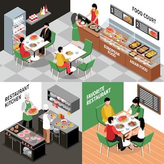 Zestaw kompozycji wnętrz restauracji