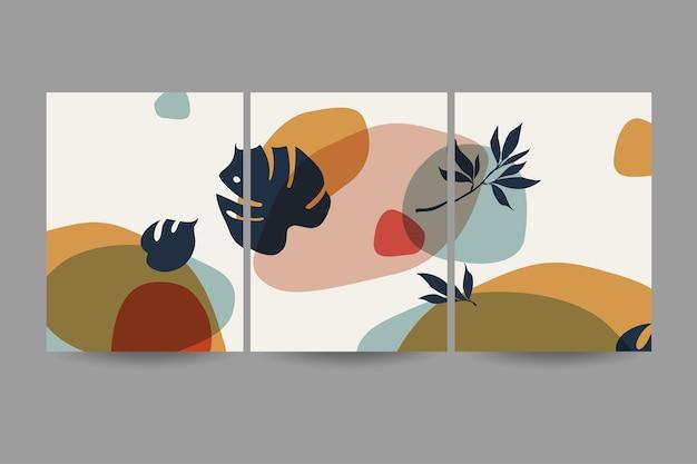Zestaw kompozycji z liśćmi. modny kolaż do projektowania w ekologicznej pocztówce lub broszurze