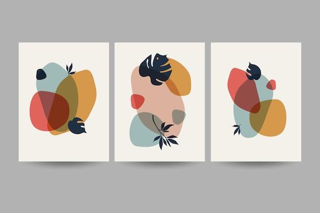 Zestaw kompozycji z liśćmi. modny kolaż do projektowania w ekologicznym stylu. ilustracje wektorowe do projektowania pocztówek lub broszur. mieszkanie.