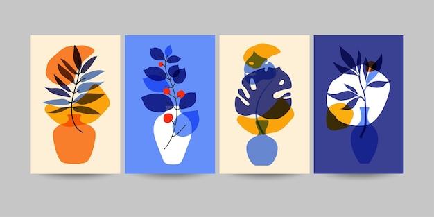 Zestaw kompozycji z liśćmi. modny kolaż do projektowania w ekologicznym stylu. zestaw ilustracji
