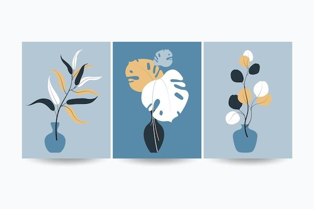 Zestaw kompozycji z liśćmi