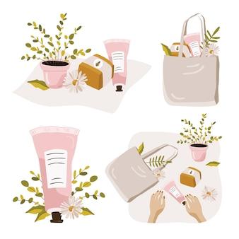 Zestaw kompozycji z roślinami i kosmetykami.
