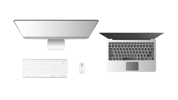 Zestaw komputerów widok z góry. komputer stacjonarny otwórz laptop. na białym tle na białym tle.