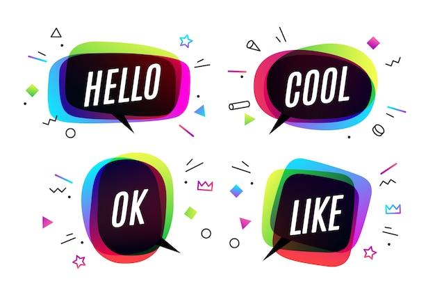 Zestaw. koncepcja transparent, dymek, plakat i naklejka, geometryczny z tekstem witaj, fajnie, ok i polub. ikona wiadomości dymek na baner, plakat, sieć. białe tło. ilustracja