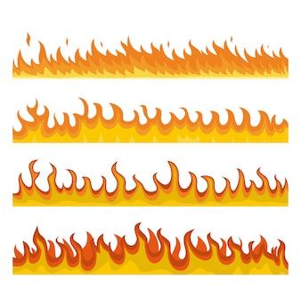 Zestaw koncepcja transparent ognia ognisko