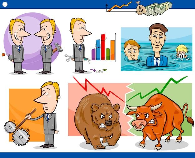 Zestaw koncepcje kreskówka biznesmenów