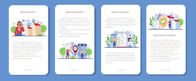 Zestaw koncepcji agenta nieruchomości. wykwalifikowany pośrednik w poszukiwaniu najlepszych