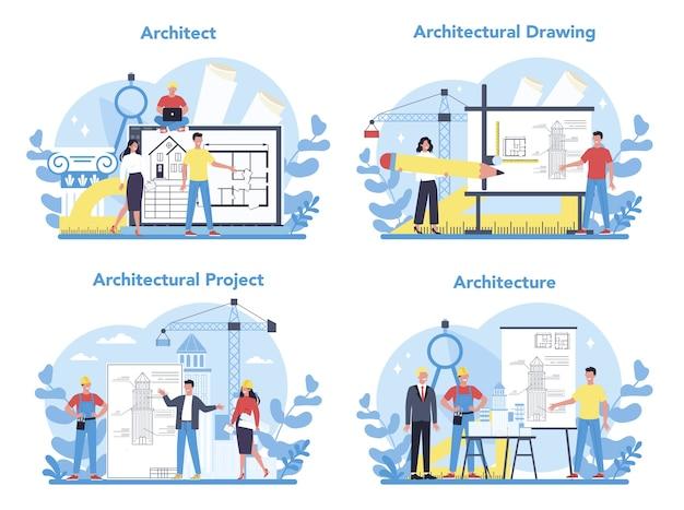Zestaw koncepcji architektury. idea projektu budowlanego i robót budowlanych. schemat domu, przemysłu maszynowego. działalność firmy budowlanej.