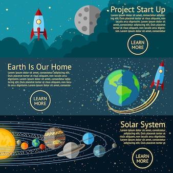 Zestaw koncepcji banerów kosmicznych - uruchomienie rakiety, ziemia z kosmosu, układ słoneczny. wektor