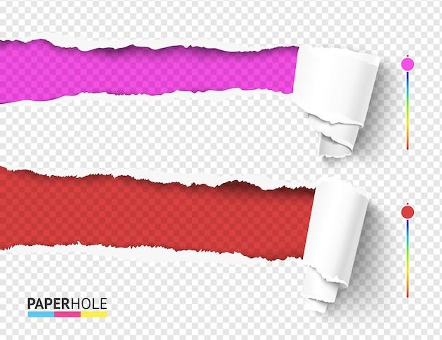 Zestaw koncepcji banerów z krawędzią ripped z zawiniętymi kawałkami papieru łzowego