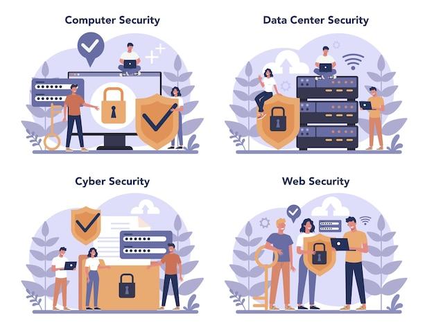 Zestaw koncepcji bezpieczeństwa cybernetycznego lub internetowego. idea cyfrowej ochrony i bezpieczeństwa danych. nowoczesna technologia i wirtualna przestępczość. informacje o ochronie w internecie. ilustracja wektorowa płaski