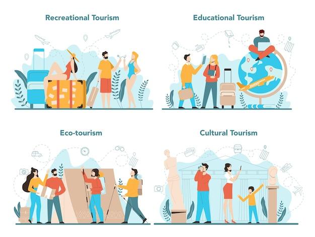 Zestaw koncepcji biura podróży. pracownik biurowy sprzedający bilety na wycieczki, rejsy, bilety lotnicze lub kolejowe. agencja organizująca wakacje, rezerwacja hoteli.