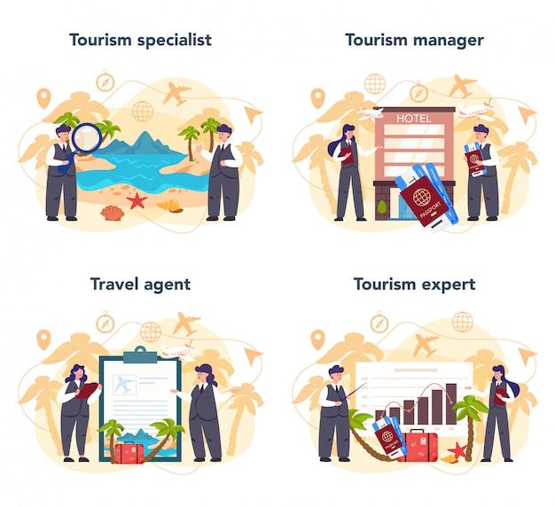 Zestaw koncepcji biura podróży. pracownik biurowy sprzedający wycieczkę, rejs, lot