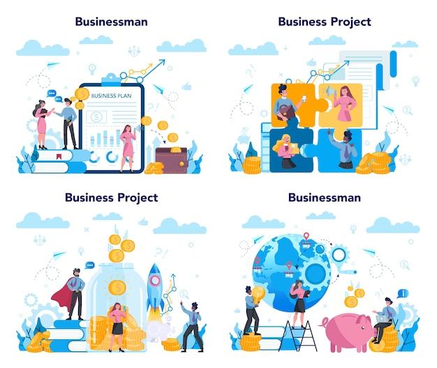 Zestaw koncepcji biznesowych. idea strategii i osiągnięć w pracy zespołowej. cel i klucz do sukcesu. burza mózgów i strategia.