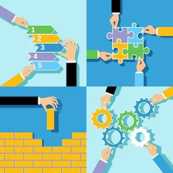 Zestaw koncepcji biznesowych rąk