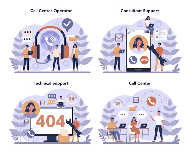 Zestaw koncepcji call center lub wsparcia technicznego. idea obsługi klienta. wspieraj klientów i pomagaj im w rozwiązywaniu problemów. dostarczenie klientowi cennych informacji.