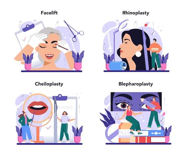 Zestaw koncepcji chirurgii plastycznej. idea nowoczesnej medycyny estetycznej twarzy. zabieg liftingujący i przeciwstarzeniowy. korekcja nosa, cheiloplastyka i blefaroplastyka. ilustracja wektorowa w stylu kreskówki