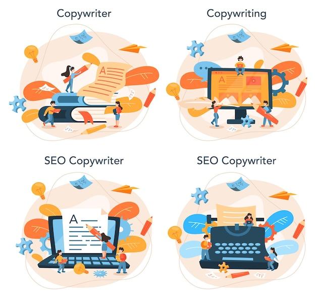 Zestaw koncepcji copywritera. idea pisania tekstów, kreatywność i promocja. tworzenie wartościowych treści i praca jako wolny strzelec.