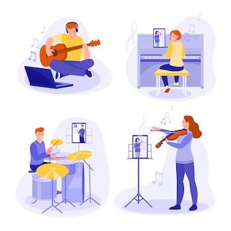 Zestaw koncepcji do nauki gry na instrumentach muzycznych online: fortepian, skrzypce, perkusja, gitara. płaski styl.