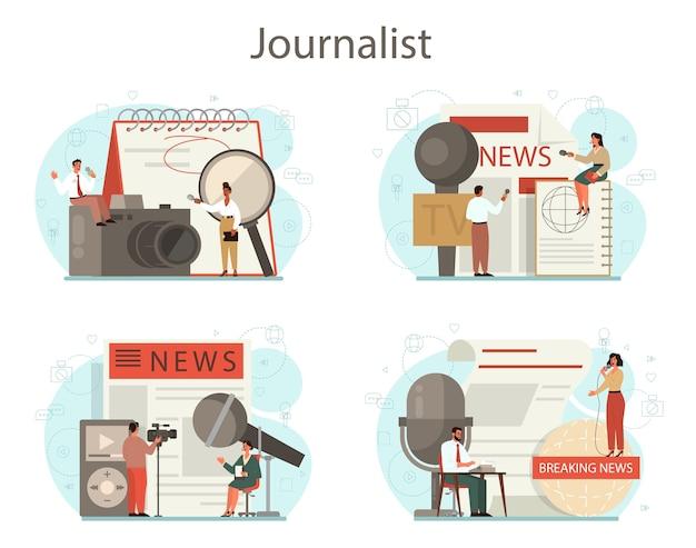 Zestaw koncepcji dziennikarza. reporter telewizyjny z mikrofonem. zawód mediów. dziennikarstwo prasowe, internetowe i radiowe.