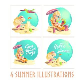 Zestaw koncepcji dziewczyny lato plaża. ilustracja.