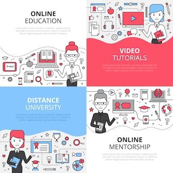Zestaw koncepcji edukacji online z samouczkami wideo odległość uniwersytetu i mentorstwa online