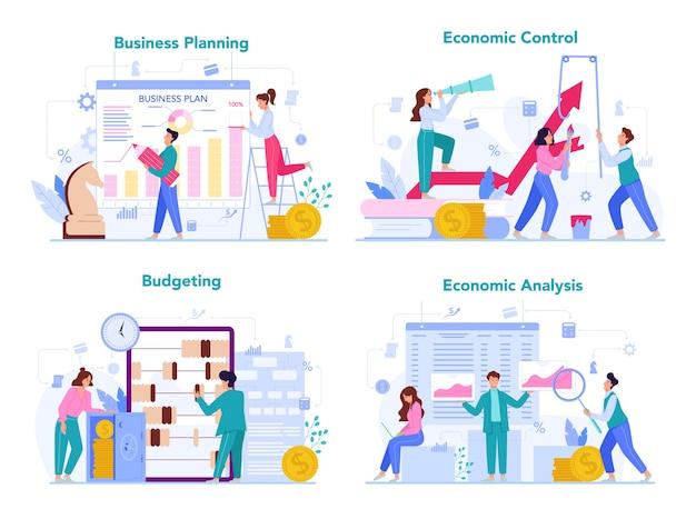 Zestaw koncepcji ekonomii i finansów. ludzie biznesu pracują za pieniądze. idea inwestycji i zarabiania pieniędzy. kapitał biznesowy.