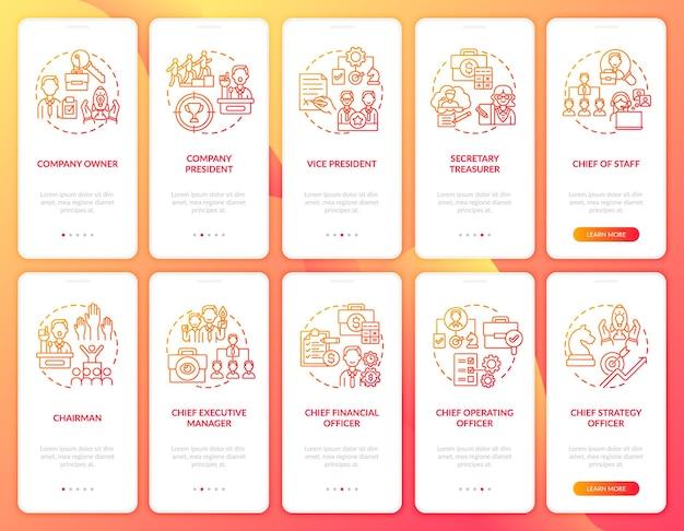 Zestaw koncepcji ekranów strony aplikacji mobilnej najwyższego kierownictwa. pełnoprawny prezes firmy. pomocnik dyrektora generalnego w 10 krokach graficznych instrukcji. szablon ui z kolorowymi ilustracjami rgb
