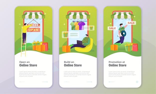 Zestaw koncepcji ekranu pokładowego z promocją sklepu internetowego