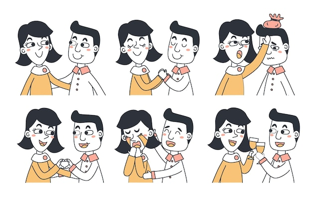 Zestaw koncepcji ekspresji emocji. kreskówka ilustracja emocja twarz człowieka.
