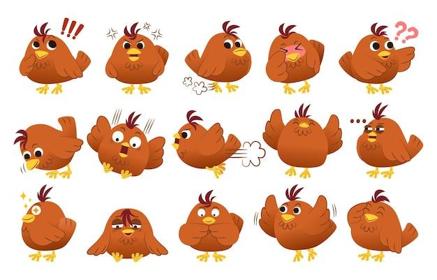 Zestaw koncepcji ekspresji emocji. postać ptaka i kurczaka w różnych zwierzęcych emocjach.