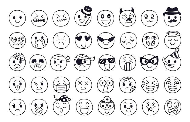 Zestaw koncepcji ekspresji emocji. twarz postaci emoji w różnych emocjach.