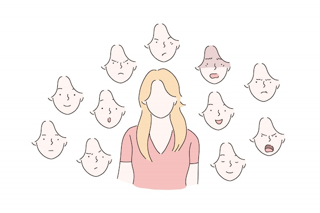 Zestaw koncepcji emocje kobiety.