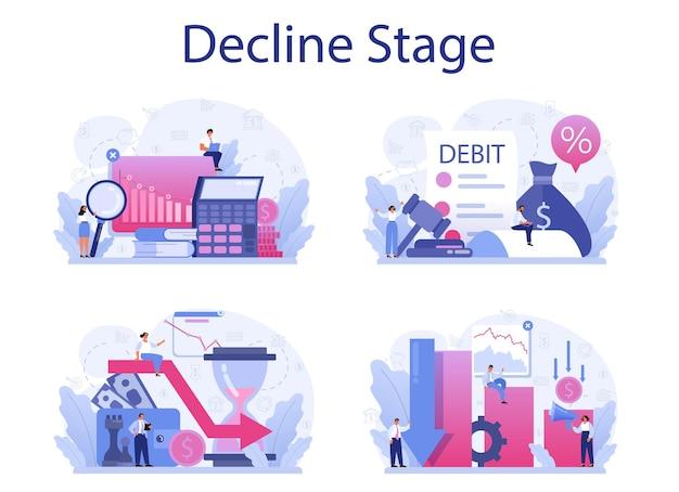 Zestaw koncepcji etapu spadku. kryzys finansowy ze spadkiem wykresu i spadkiem dochodów. idea bankructwa i ryzyka biznesowego. strata pieniędzy.