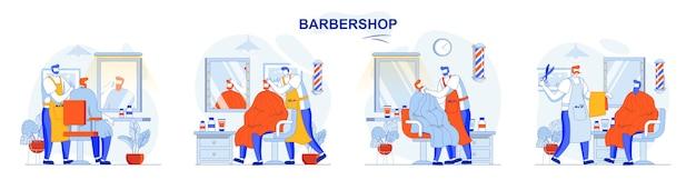 Zestaw koncepcji fryzjera męskiej fryzury i golenia brody i pielęgnacji włosów w salonie
