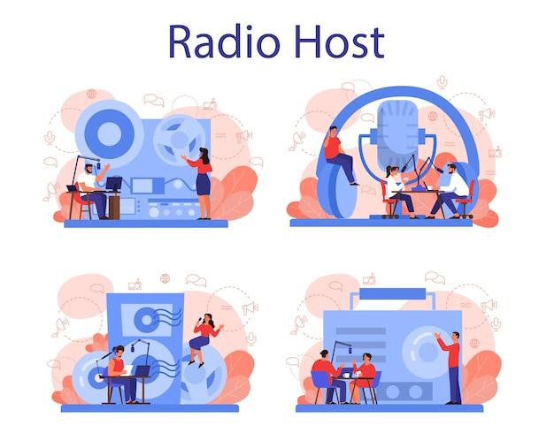 Zestaw koncepcji hosta radiowego. pomysł nadawania wiadomości w studio. zawód dj-a. osoba rozmawiająca przez mikrofon.