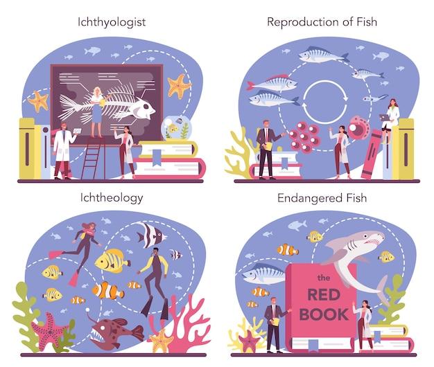 Zestaw koncepcji ichtiologa. naukowiec zajmujący się fauną oceaniczną. praktyczne studiowanie działu zoologii poświęconego nauce ryb. ochrona gatunków zagrożonych wyginięciem. ilustracja na białym tle wektor