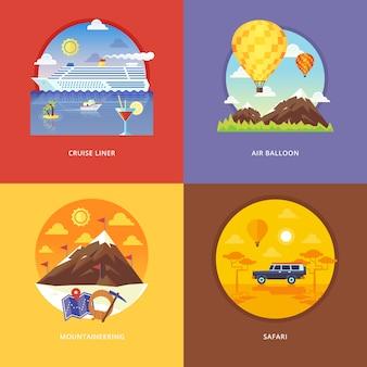 Zestaw koncepcji ilustracji dla wycieczkowca, balonu, alpinizmu, afrykańskiego safari. rekreacja, wyjazd wakacyjny, turystyka, podróże. koncepcje banera internetowego i materiałów promocyjnych.
