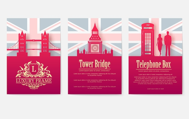 Zestaw koncepcji ilustracji ornament kraju anglii.