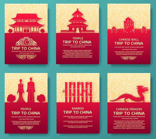 Zestaw koncepcji ilustracji ornament kraju chiny