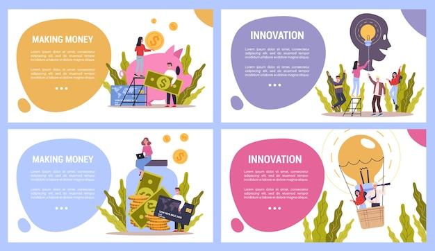 Zestaw koncepcji innowacji biznesowych i zarabiania pieniędzy. pracownicy pracują w zespole na rzecz rozwoju finansów. kreatywny umysł. żarówka jako metafora idei. ustaw ilustrację
