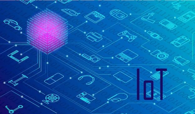 Zestaw koncepcji internetu rzeczy, iot, urządzeń i łączności sieciowej. wszystkie urządzenia są zarządzane z centrum. gadżety komunikują się ze sobą za pośrednictwem internetu. futurystyczny niebieski kolor tła