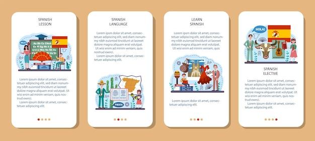 Zestaw koncepcji języka hiszpańskiego. kurs języka hiszpańskiego w szkole językowej. studiuj za granicą
